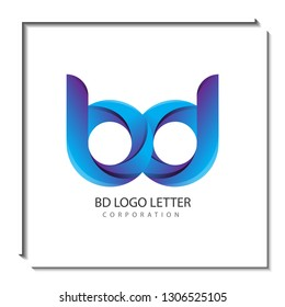 bd b d circle lowercase design of alphabet letter combination with infinity suitable as a logo for a company or business - Vector