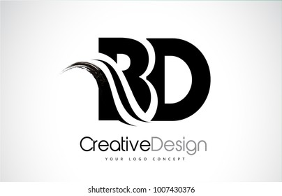 BD B D Creative Modern Black Letters Logo Design with Brush Swoosh