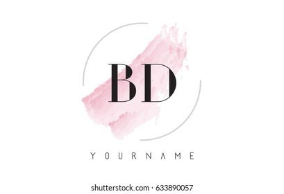 BD B D Watercolor Letter Logo Design with Circular Shape and Pastel Pink Brush.