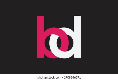 bd or db and b, d Lowercase Letter Initial Logo Design, Vector Template