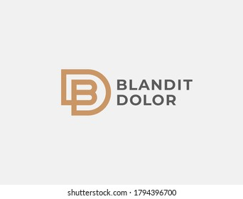 BD or DB. Monogram of Two letters B&D or D&B. Luxury, simple, minimal and elegant BD, DB logo design. Vector illustration template.