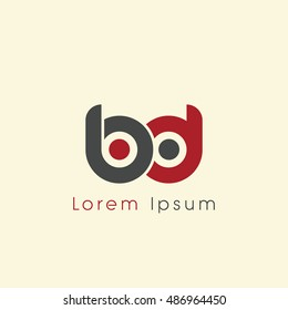 bd initial letter linked lowercase logo. b and d vector template design.