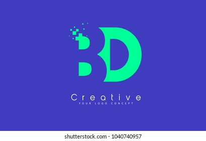 BD Letter Logo Design With Negative Space Concept in Blue and Green Colors Vector