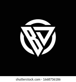 BD logo with triangle shape and circle rounded design template isolated on black background