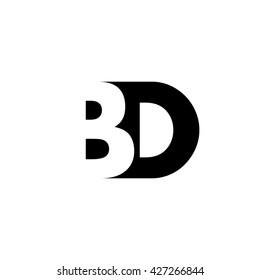 BD Logo. Vector Graphic Branding Letter Element. White Background