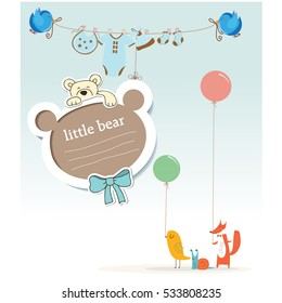 Bday card, baby shower, greeting, vector