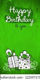 Bday greeting card green design, modern vector grunge texture