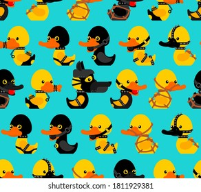 BDSM duck pattern seamless. fetish toy background. Rubber duck in black suit texture. vector ornament