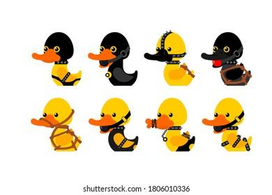 BDSM duck set. fetish toy Rubber duck in black suit. vector illustration