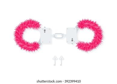 BDSM fluffy handcuffs, bondage element to immobilize partner. Sex shop stuff for sadist and masochist. Modern flat vector EPS10.