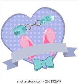 BDSM heart banner with sex toys isolated