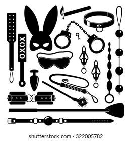 BDSM set icons. Vector illustration.