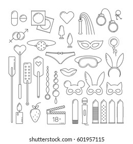 BDSM and sex set icons, linear design elements.