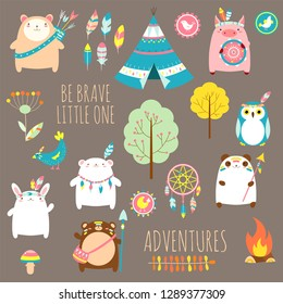 Be brave little one. Vector set of cute woodland tribal animals, birds, tent, wigwam, dream catcher in cartoon style. EPS8
