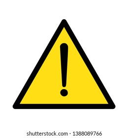 BE CAREFUL ALERT FOR DANGER SIGN, TRIANGLE YELLOW PLUS BLACK, VECTOR ILLUSTRATION