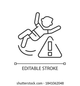 Be careful linear icon. Water park, public places safety rule thin line customizable illustration. Contour symbol. Person slipped, falling on floor vector isolated outline drawing. Editable stroke