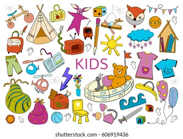 Be creative with kids. Doodle hand drawn color elements on white background