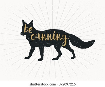 be cunning, dark grey Fox Silhouette on grey background