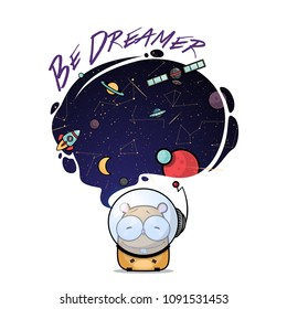 Be dreamer. Card with vector animal character.