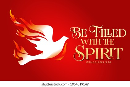 Be filled with the holy Spirit Pentecost Sunday vector illustration