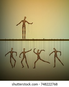 be free concept, one marionette without the thread and many marionettes hanging, vector