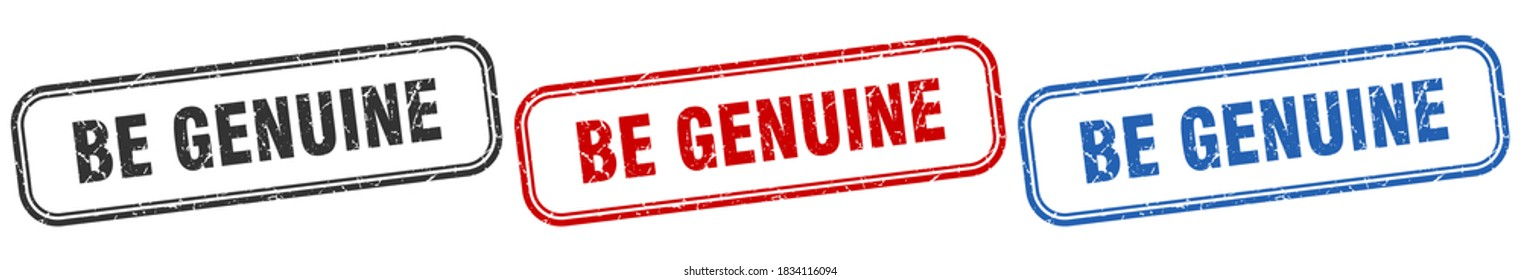 be genuine square isolated sign set. be genuine stamp