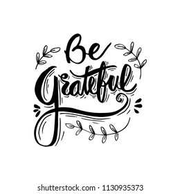 Be grateful hand lettering