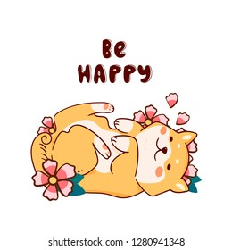 Be happy. Cute Shiba Inu laying on back with flowers. Hand drawn vector illustration