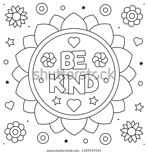 Be Kind Coloring Page Black White Stock Vector (Royalty Free) 1509559541