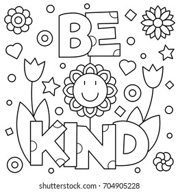 kindness coloring page images stock photos vectors shutterstock https www shutterstock com image vector be kind coloring page vector illustration 704905228