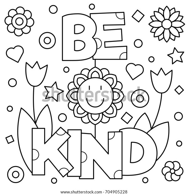 Be Kind Coloring Page Vector Illustration Stock Vector (Royalty Free)  704905228