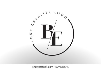 BE Letter Logo Design with Creative Intersected and Cutted Serif Font.
