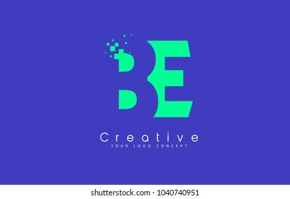 BE Letter Logo Design With Negative Space Concept in Blue and Green Colors Vector