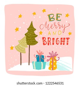 be merry and bright inscription inside the magic snow globe, Christmas trees, snow, stars Shine, gifts with bows