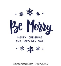 Hohoho merry christmas text hand drawn stock vector royalty free be merry happy new year and merry christmas text holiday greetings quote hand m4hsunfo