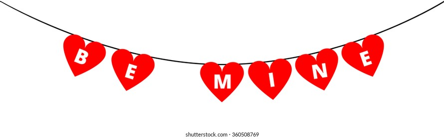 Be Mine bunting decoration for Valentines day with red hearts isolated on transparent background