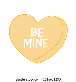 Be Mine Conversation Heart Illustration