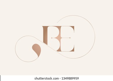 BE monogram.Typographic logo with serif letter b and letter e.Uppercase rose gold lettering icon isolated on light background.Elegant style alphabet sign.Branding,boutique,wedding ornate initials.