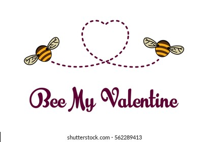 Be My Valentine card. Bees flying and drawing heart silhouette. Vector background. Funny banner design