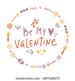 be my valentine doodle lettering