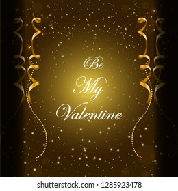 Be my valentine golden shiny bookeh poster, wallpaper and card design vector illustration.