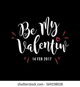 Be My Valentine Greeting, Valentine's Day White Type Vector Sticker Icon, Black Background.
