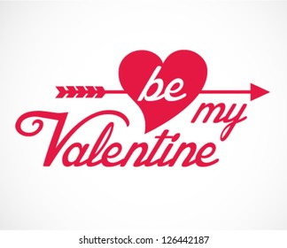 Be My Valentine Hand Lettering - Typographical Background