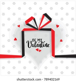 Be My Valentine template for banner or poster. Holiday lettering, greeting card with gift for Valentines day, wedding . Vector illustration