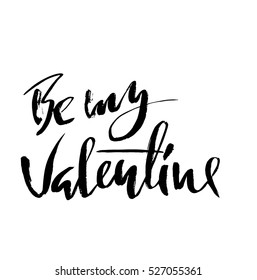 Be my Valentine text. Valentine s typography. Vector illustration of Valentine Greeting Card with heart. Black typography.