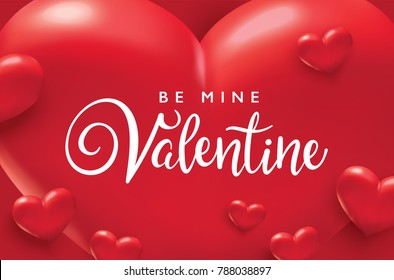 Be My Valentine, Valentines day romance poster with red hearts background