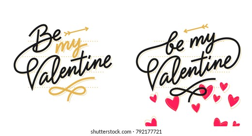 Be my Valentine, Valentine's day lettering card