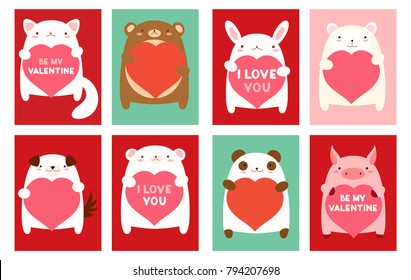 Be my Valentine. Valentine's day banner, background, flyer, placard with cute animals. Holiday poster for scrapbooking. Vector template card for greeting, decoration, congratulation, invitation. EPS8