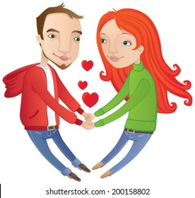 Be my Valentine! Vector cartoon of a young couple in love on Valentines Day
