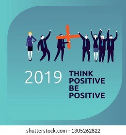 Be positive, Business people celebrating an increidible good year 2019 -Vector Illustration-